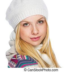 retrato, de, mulher jovem, em, roupas inverno