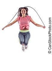 retrato, de, muscular, mulher jovem, exercitar, com, pular, rope.