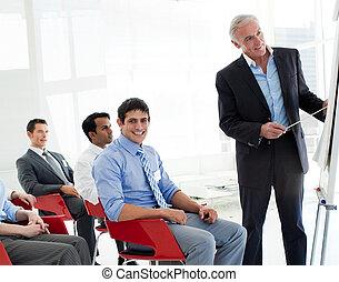retrato, de, negócio internacional, pessoas, em, um, conferência