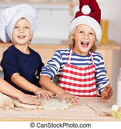 retrato, de, niña, utilizar, galleta, cortadores, en, masa,...
