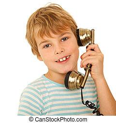 retrato, de, niño, en, camiseta, hablar, retro, teléfono, contra, blanco, fondo., isolation.