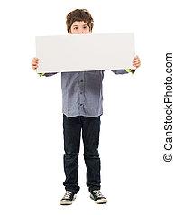 retrato, de, niño, tenencia, cartel