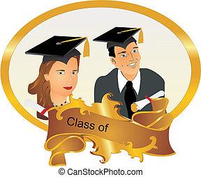 retrato, de, nuestro, graduates..