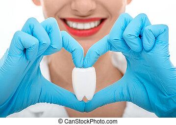 retrato, de, odontólogo, com, dente, branco, fundo