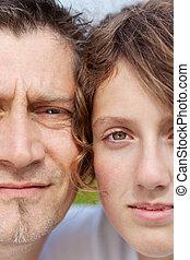 retrato, de, padre e hija