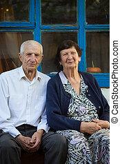 retrato, de, par ancião