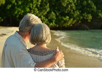 retrato, de, par ancião, ligado, praia, vista traseira