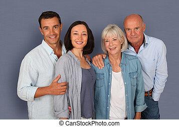 retrato, de, par bueno, con, padres