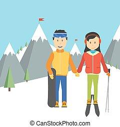 retrato, de, par bueno, esquiadores