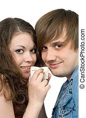retrato, de, par jovem, com, óculos, em, hands., isolado