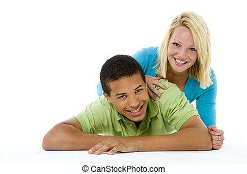 retrato, de, pareja adolescente