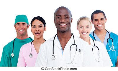 retrato, de, positivo, equipo médico
