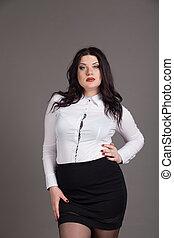 retrato, de, principal, mulher negócio, terno negócio
