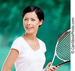 retrato, de, profesional, hembra, jugador del tenis