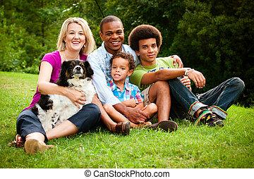 retrato, de, raça misturada, família, em, parque