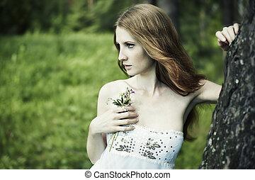 retrato, de, romanticos, mulher, em, fada, floresta