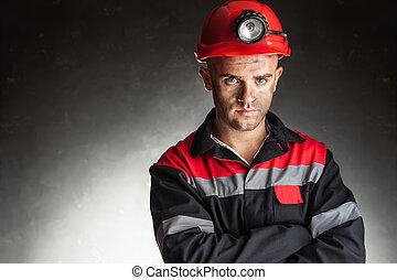 retrato, de, sério, mineiro carvão