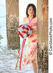 retrato, de, senhora, com, bonito, buquet, praia