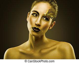 retrato, de, sexual, hermoso, niña, con, lujo, oro, maquillaje