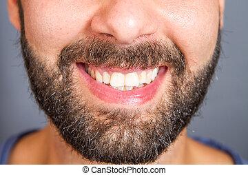 retrato, de, sorrindo, beared, homem