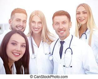 retrato, de, sorrindo, equipe médica