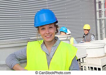 retrato, de, sorrindo, estudante, menina, em, profissional, treinamento