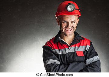 retrato, de, sorrir feliz, mineiro carvão