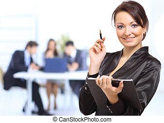 retrato, de, sucedido, executiva, e, equipe negócio, em, reunião escritório