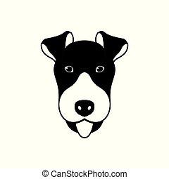 retrato, de, terrier de zorro, negro y blanco, plano, style.
