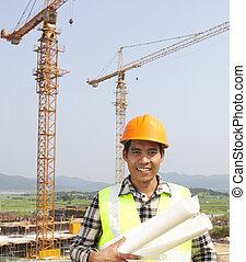 retrato, de, trabajador construcción, en, interpretación el sitio