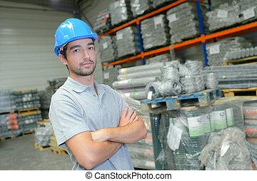 retrato, de, trabajador industrial