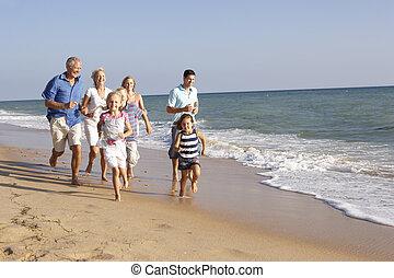 retrato, de, tres familia generación, en, día feriado de playa