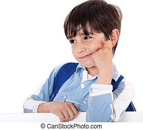 retrato, de, um, adorável, menino escola, pensando
