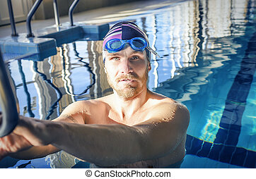 retrato, de, um, ajustar, nadador