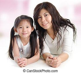 retrato, de, um, alegre, mãe, e, dela, filha