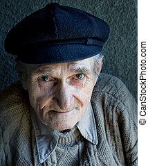 retrato, de, um, amigável, antigas, homem sênior