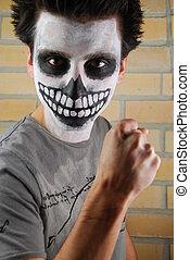 retrato, de, um, arrepiado, esqueleto, sujeito, (carnival, rosto, painting)