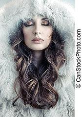retrato, de, um, atraindo, senhora jovem, inverno