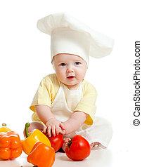 retrato, de, um, bebê, desgastar, um, chapéu cozinheiro, com, alimento saudável, legumes, isolado, branco