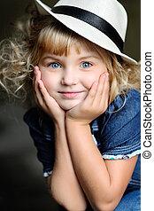 retrato, de, um, beleza, moda, criança, menina