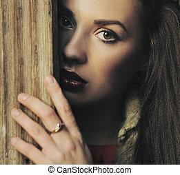 retrato, de, um, beleza, morena