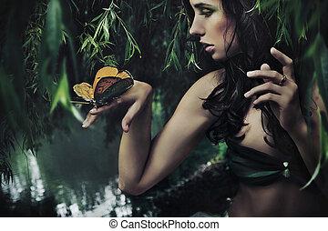 retrato, de, um, beleza, morena, com, borboleta