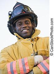 retrato, de, um, bombeiro