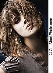retrato, de, um, bonito, femininas, modelo