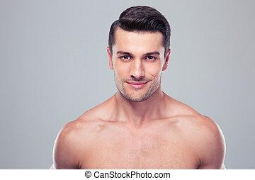 retrato, de, um, bonito, homem jovem