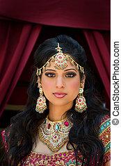 retrato, de, um, bonito, indianas, noiva