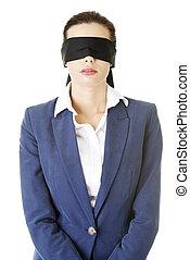 retrato, de, um, bonito, jovem, blindfold, executiva
