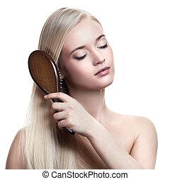 retrato, de, um, bonito, jovem, loiro, mulher, pente, maravilhoso, cabelo