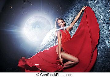 retrato, de, um, bonito, jovem, modelo, sobre, a, gigante, lua