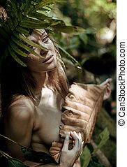 retrato, de, um, bonito, loiro, em, a, selva